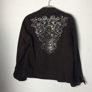 "Chico's ""Jean"" brown jacket with ornate back.   L"